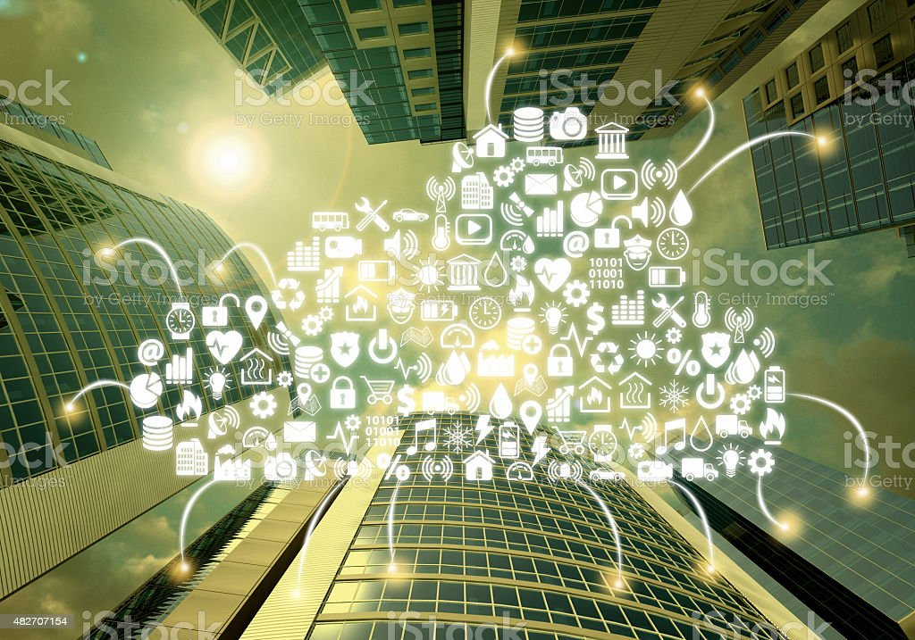 Smart city, building automation, skyscrapers connected by cloud computing stock photo