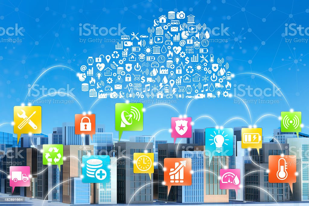 Smart City, Internet of Things: buildings connected by cloud services stock photo