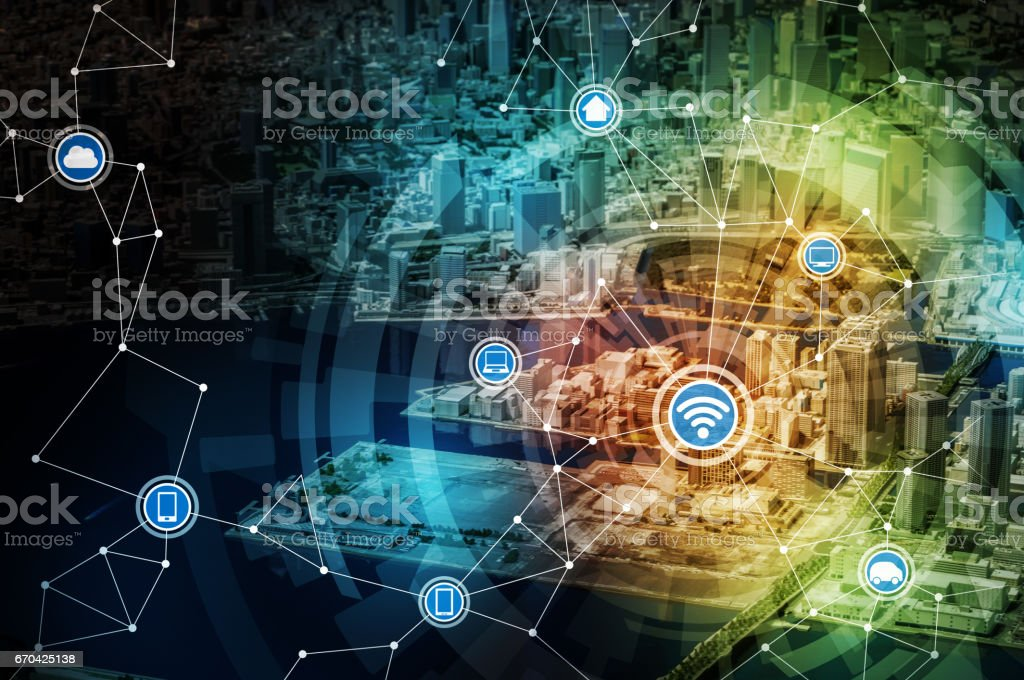 smart city miniature model and internet of things, conceptual abstract image stock photo