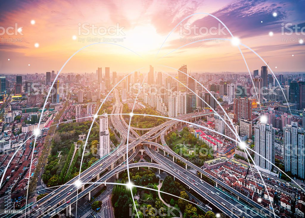 Smart City Network Technology stock photo