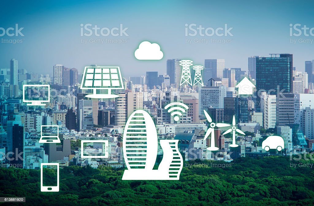 smart city, smart building, smart grid, abstract image visual stock photo
