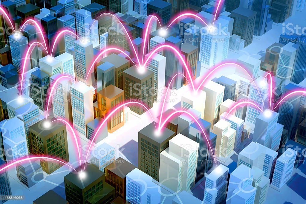 Smart city with buildings connected by glowing links, aerial view stock photo