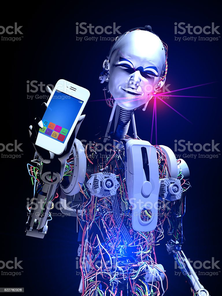 Smart Cyborg and Mobile Technology of The Future stock photo
