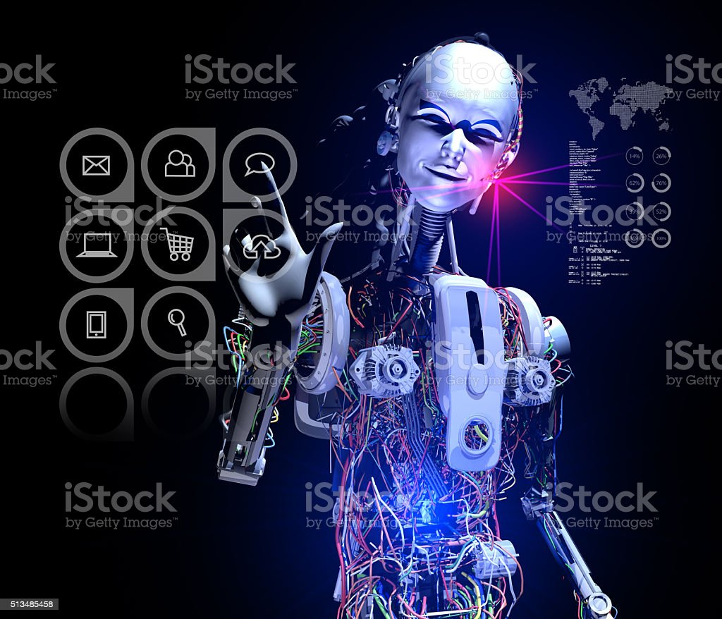 Smart Cyborg select Messaging Button stock photo
