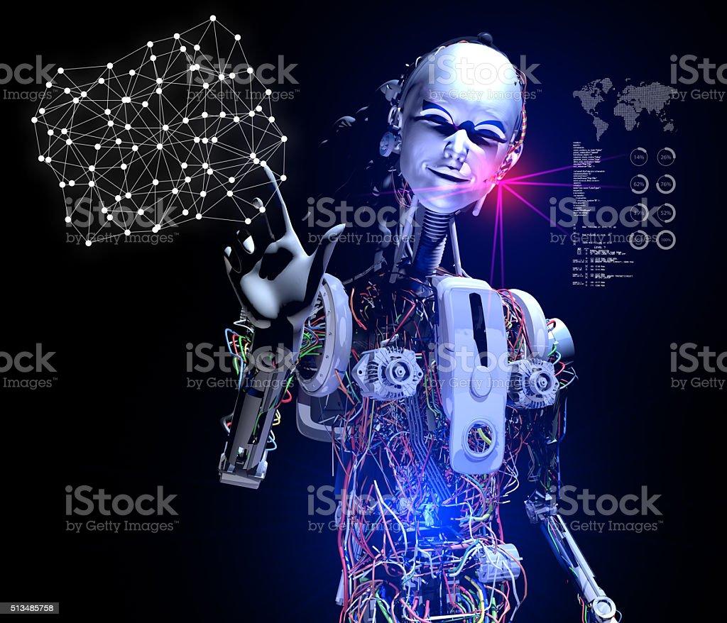 Smart Cyborg showing Social Media Links stock photo