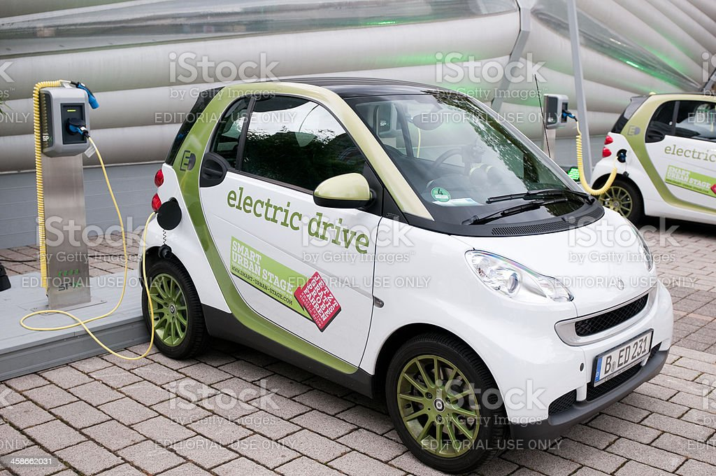 Smart Electric Drive Fortwo car charging stock photo