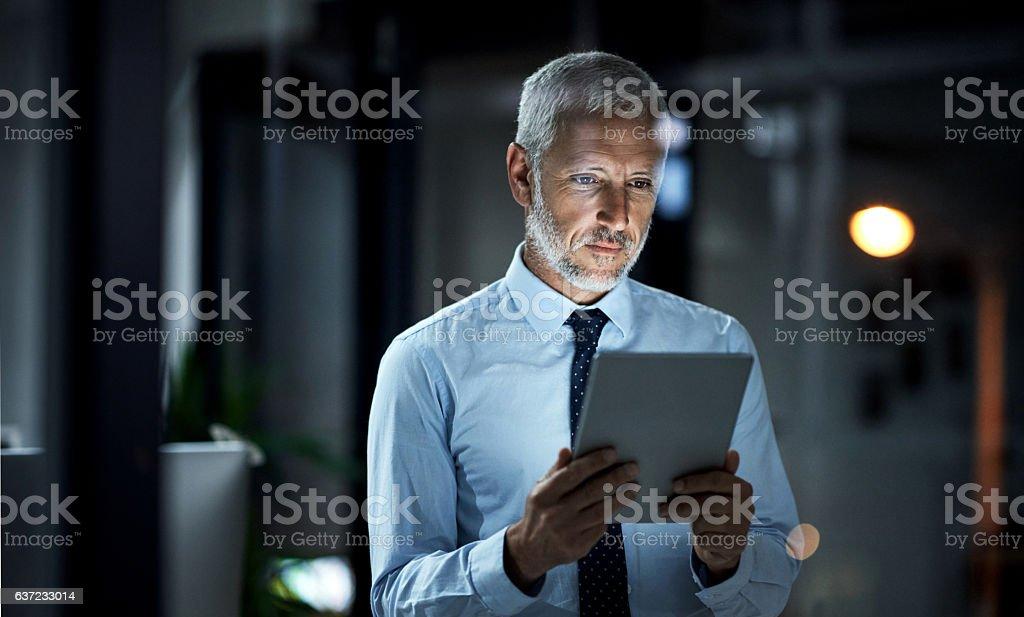 Smart executives use smart technology stock photo