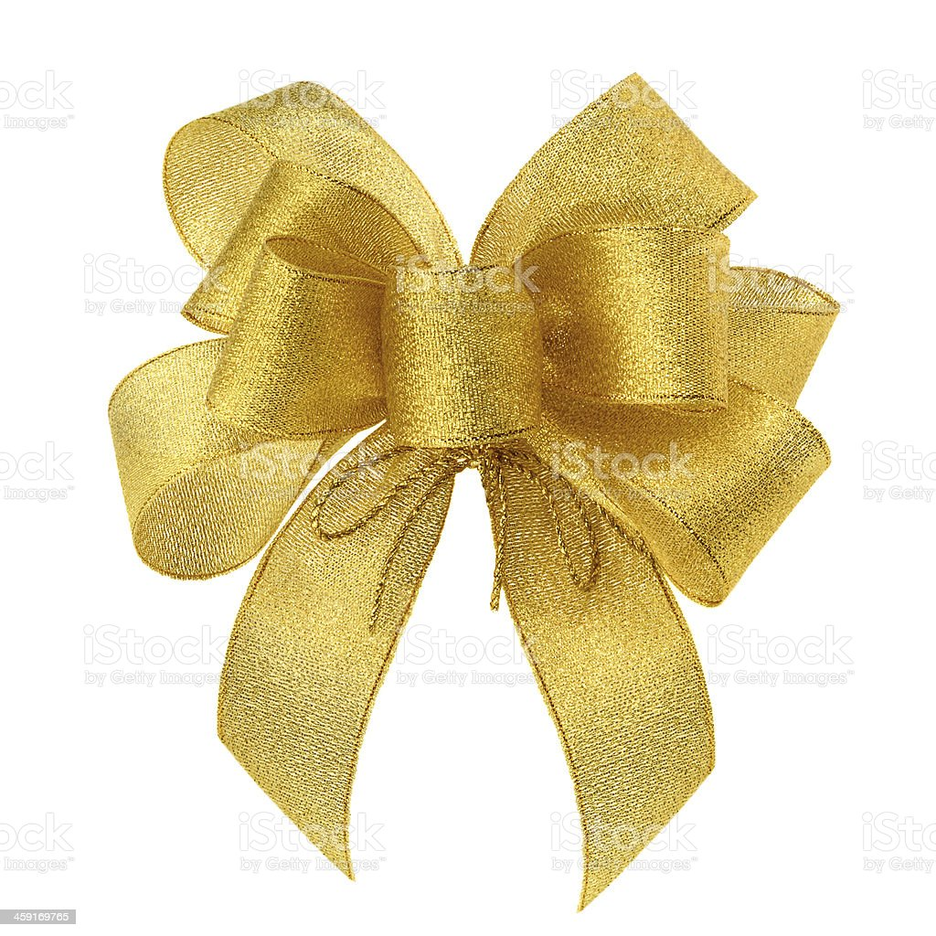 Smart gold bow on white stock photo