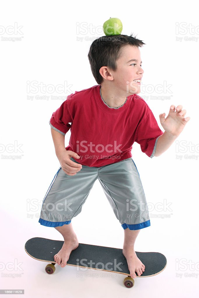 Smart Healthy Boy on Skateboard, William Tell Look Alike royalty-free stock photo