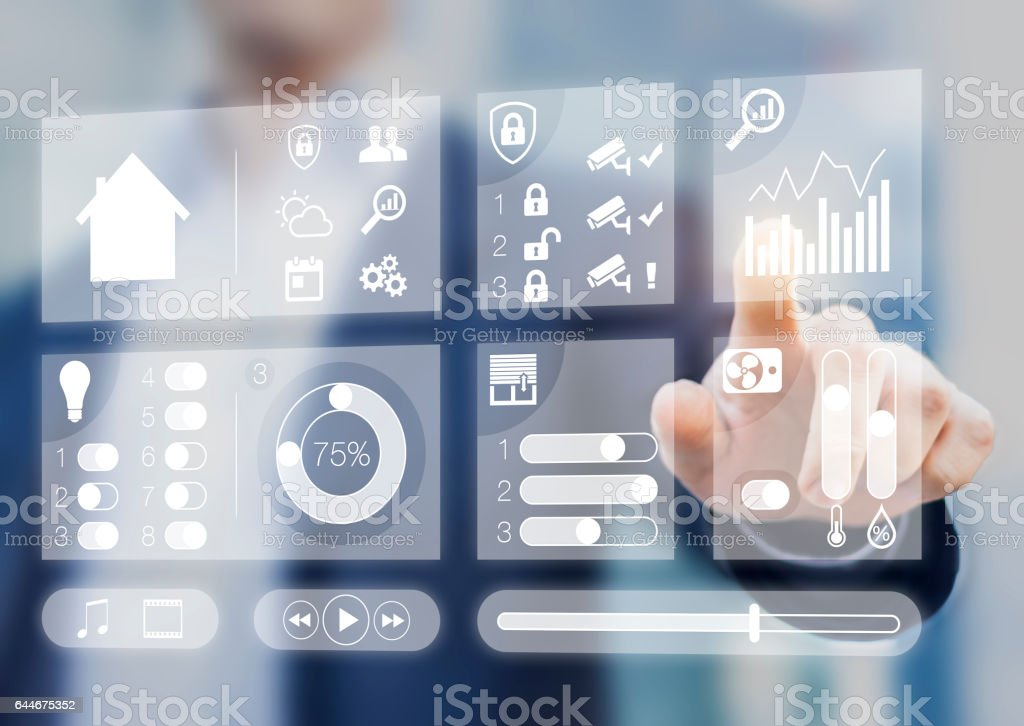 Smart home automation screen using augmented reality, person touching button stock photo
