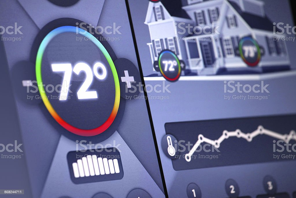 Smart home automation: temperature control panel display, Fahrenheit degrees stock photo