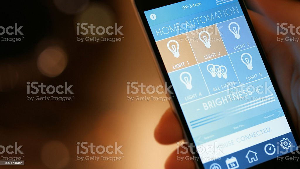 Smart Home Device - Home Control App Close up stock photo