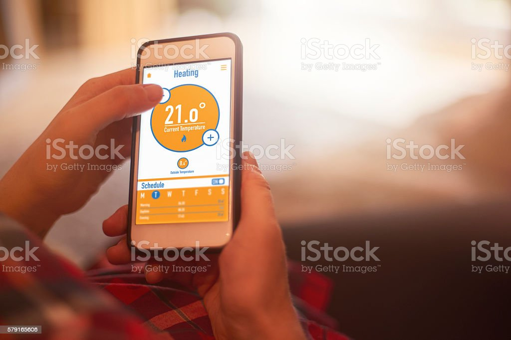 Smart home heating control stock photo