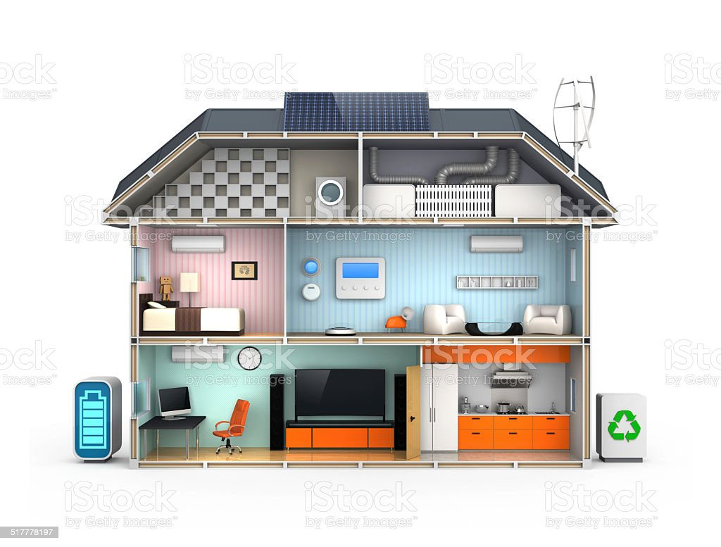 Smart house with energy efficient appliances stock photo