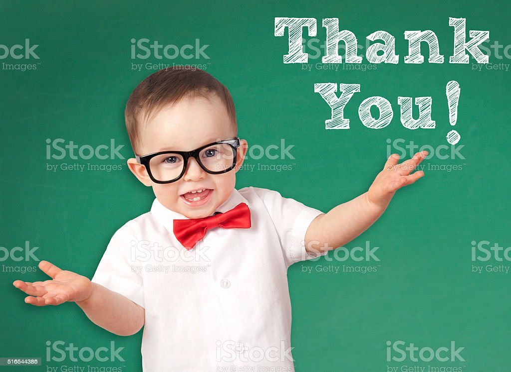 Smart Kid with a Thank You message stock photo