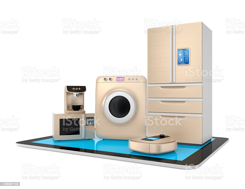 Smart kitchen appliances and tablet PC isolated on white background stock photo