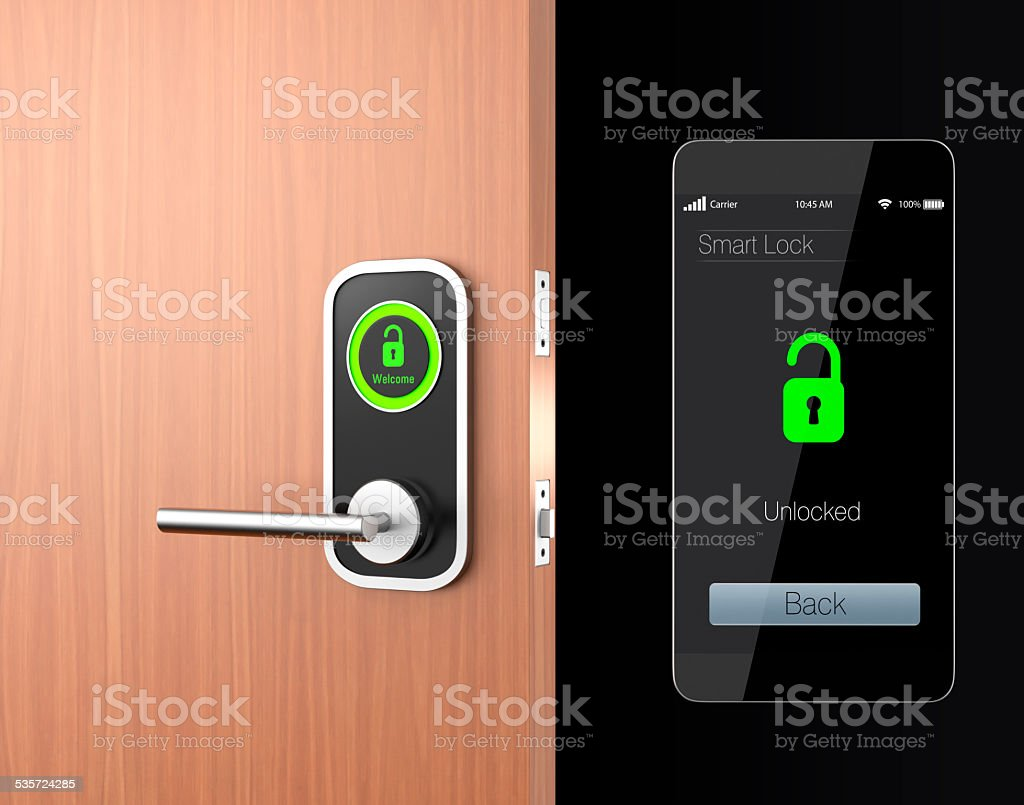 Smart lock concept with clipping path stock photo