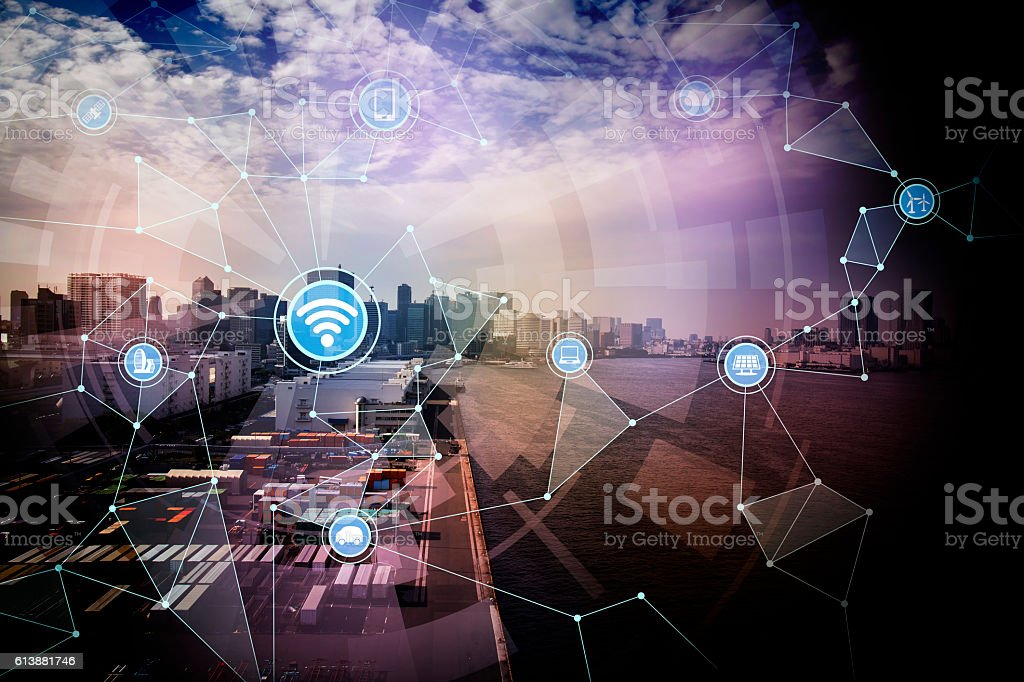 smart logistics and wireless communication network stock photo