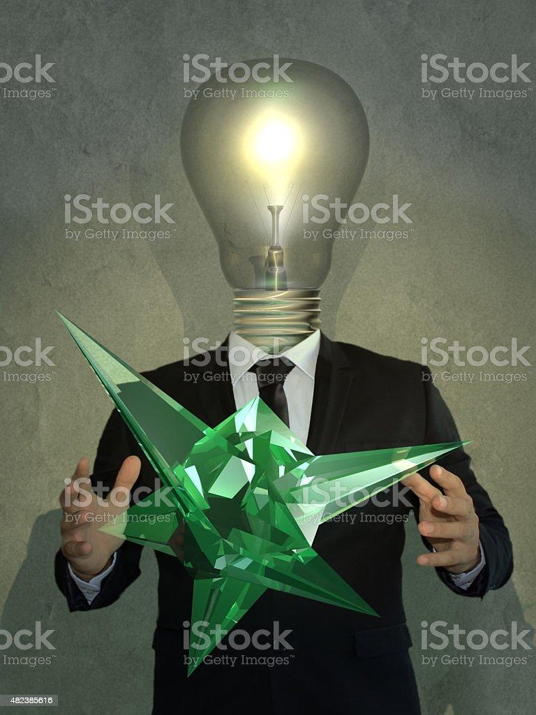 Smart Man Showing a New Phenomenon stock photo
