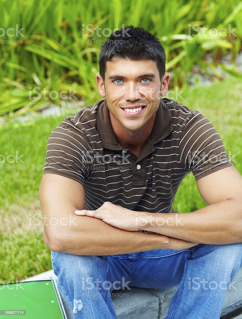 Smart man smiling royalty-free stock photo