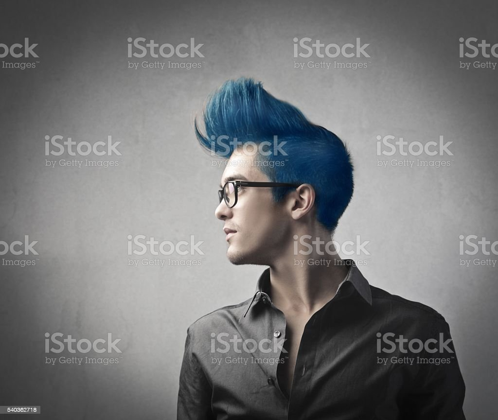 Smart man with blue hair stock photo