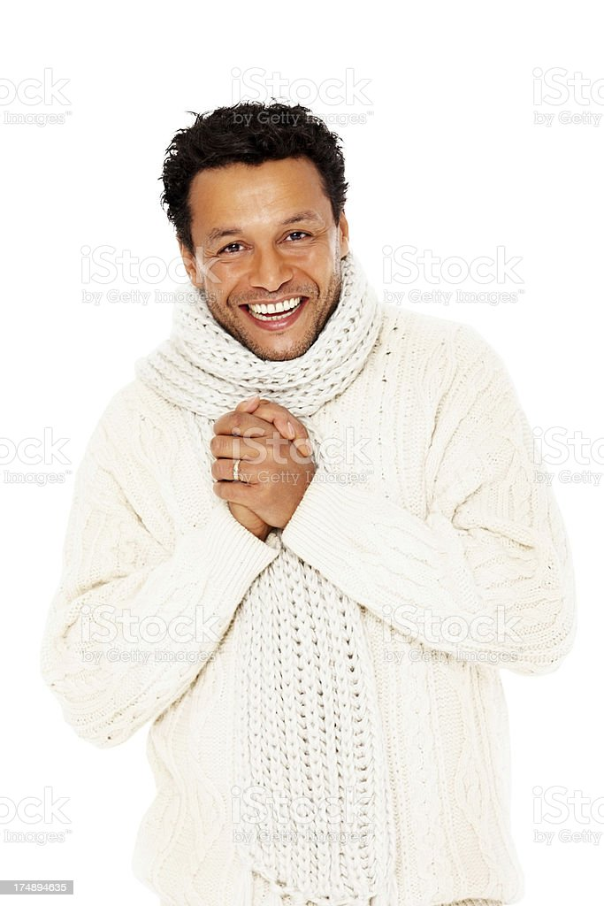 Smart mature guy in winter wear smiling against white royalty-free stock photo