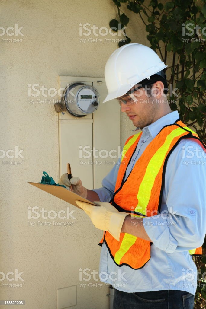 Smart Meter Installer Marks Clipboard stock photo