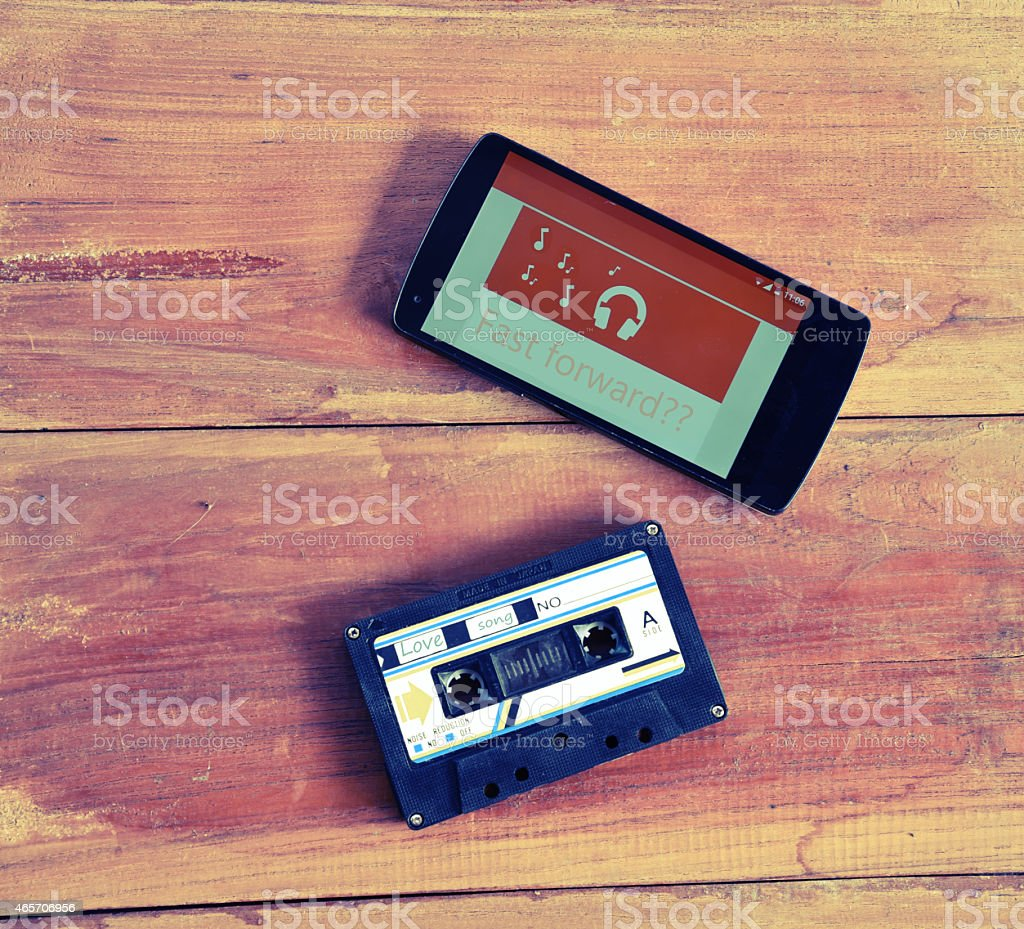 smart phone and casstte tape stock photo