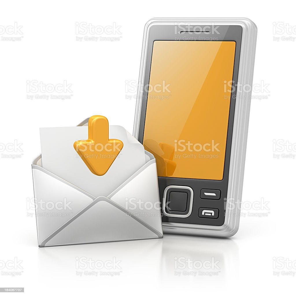 smart phone and download message royalty-free stock photo