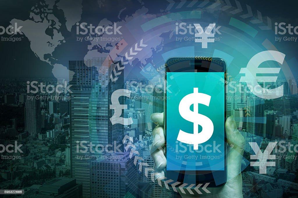 smart phone and financial technology (FinTech) stock photo