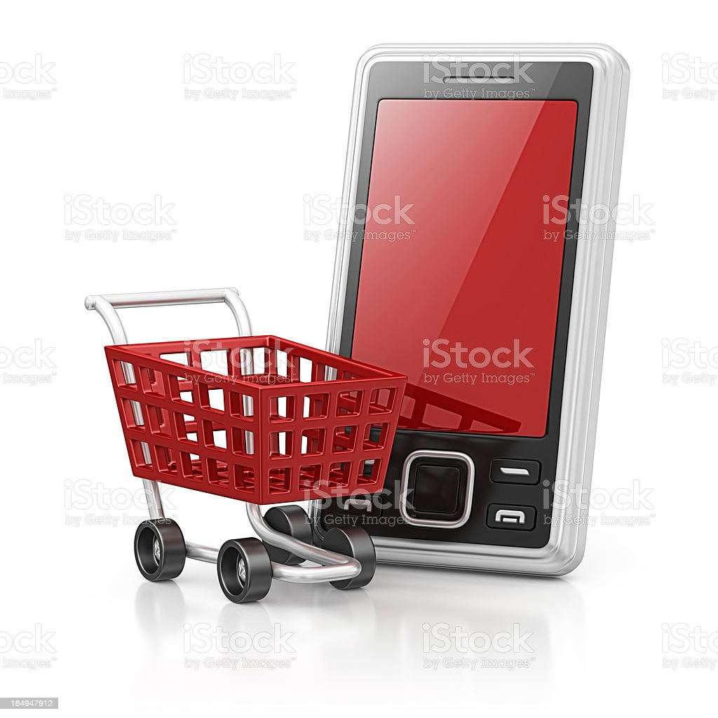 smart phone and shopping cart royalty-free stock photo