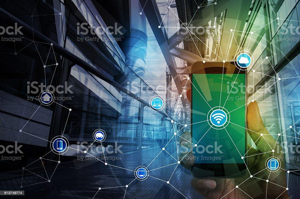 smart phone and smart city, wireless communication network stock photo