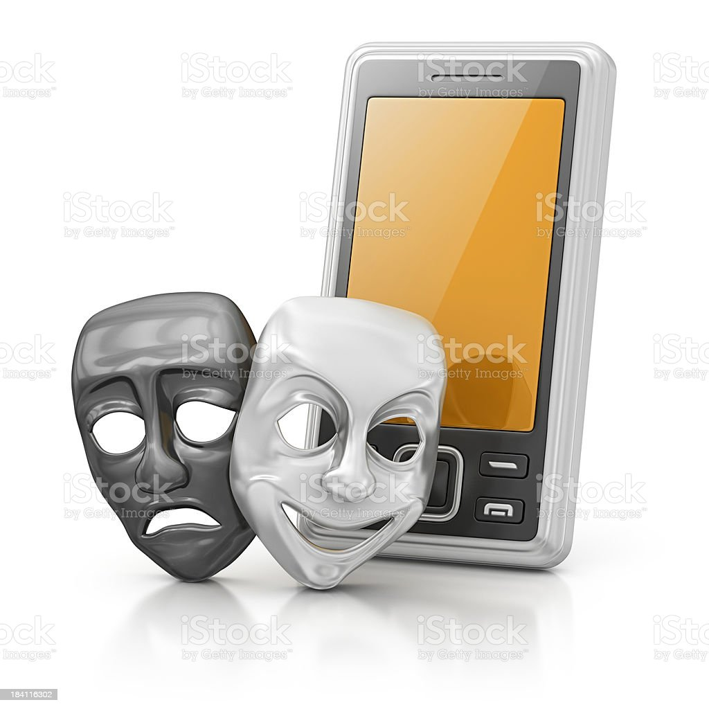 smart phone and theater masks royalty-free stock photo