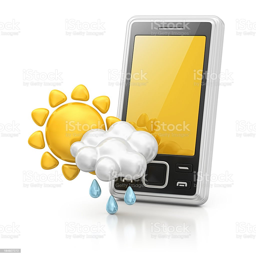 smart phone and weather icon stock photo