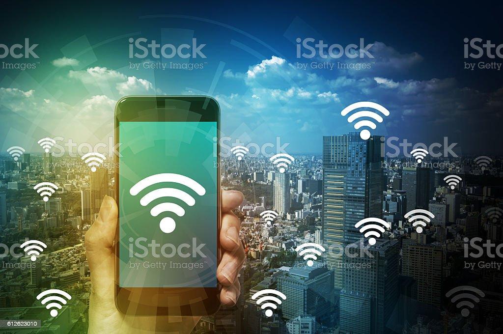 smart phone and wireless communication stock photo