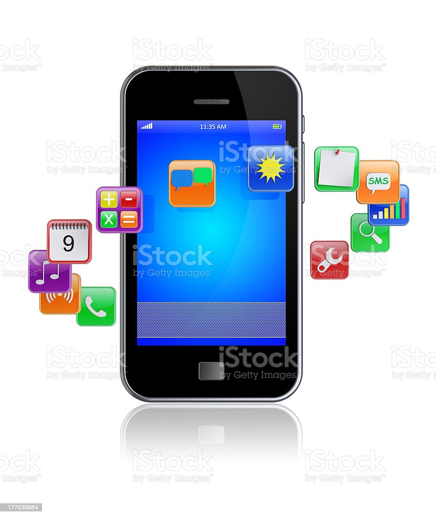 Smart phone apps icons royalty-free stock photo