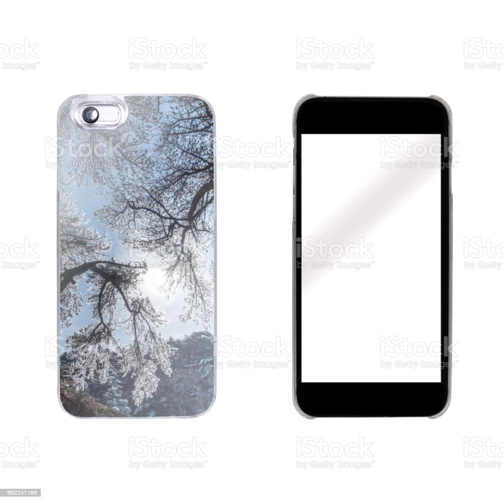 smart phone case protcetion with nature photo stock photo