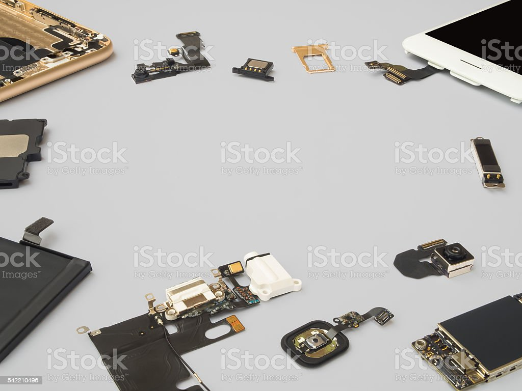 Smart phone components isolate on white background stock photo