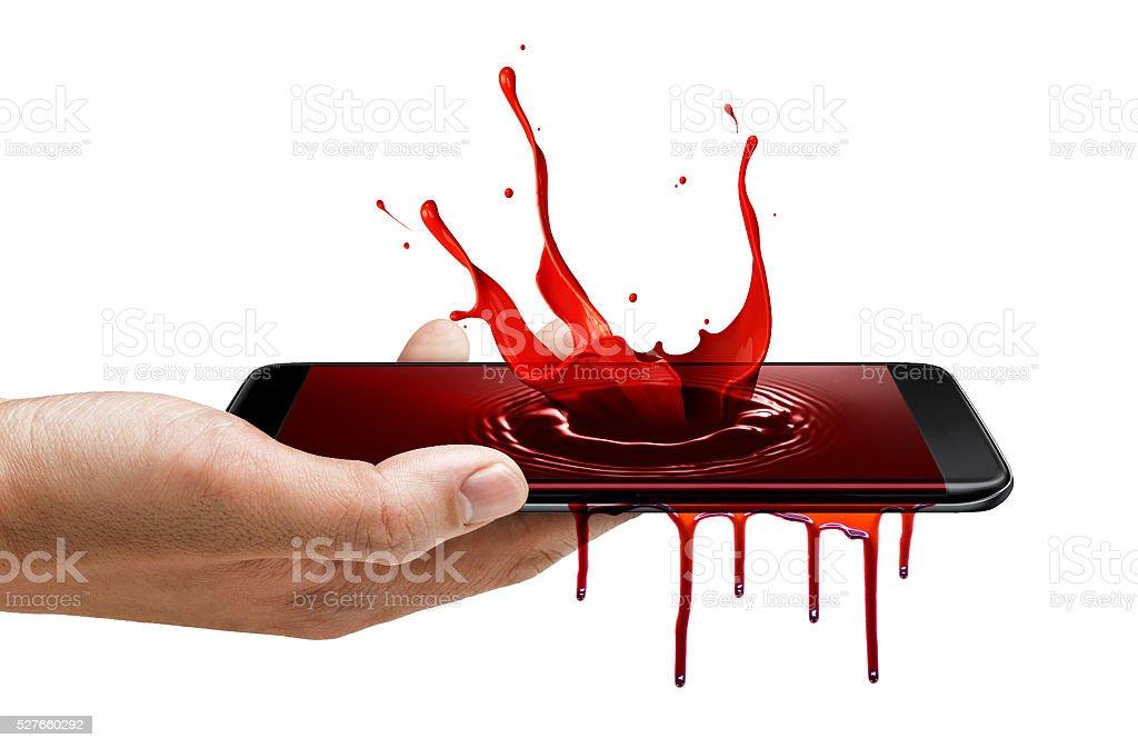 Smart phone edge screen - blood splash stock photo