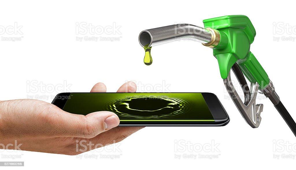 Smart phone edge screen - Fuel oil petrolium stock photo