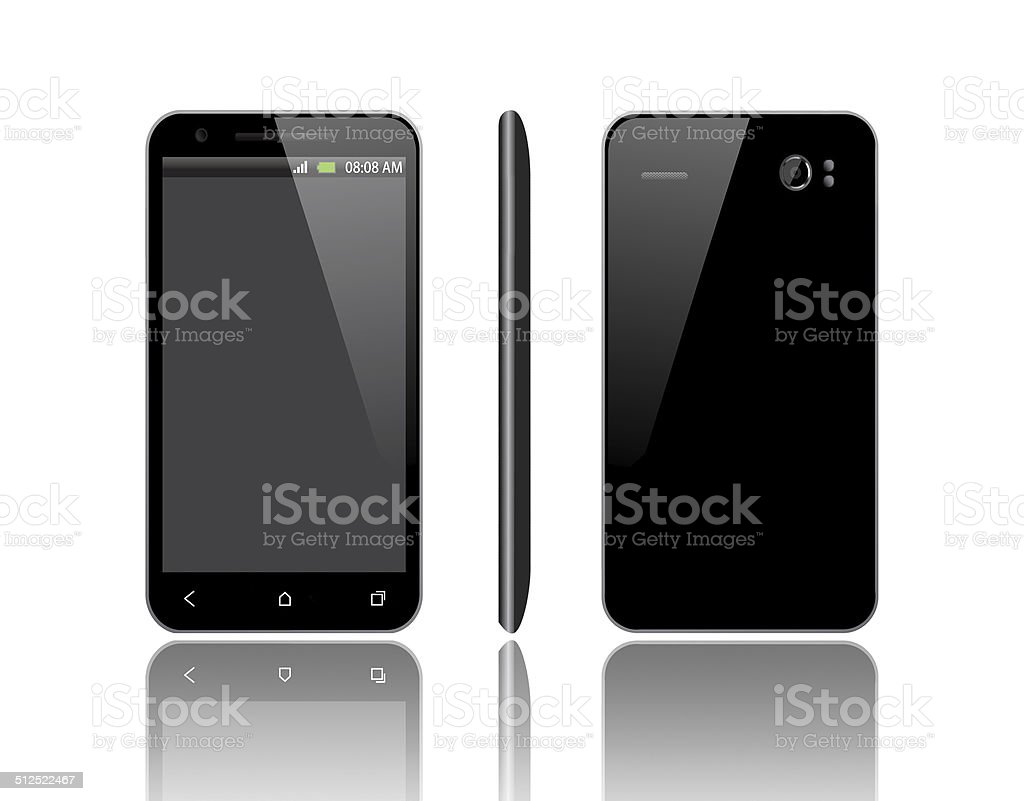 smart phone from three angles stock photo