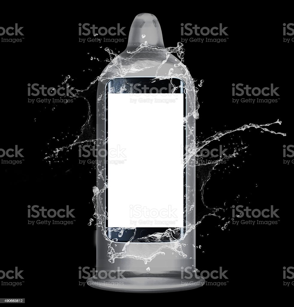 Smart phone in condom protection stock photo