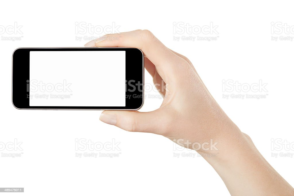 Smart phone in female hand taking photo stock photo