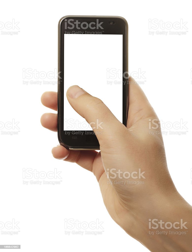 smart phone in hand stock photo