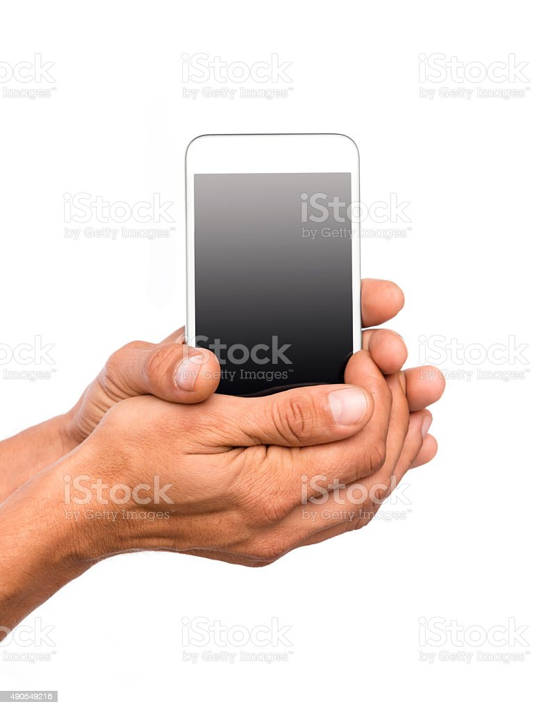 Smart Phone in hands on White Background stock photo