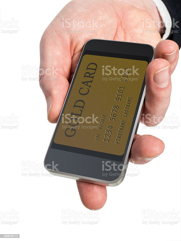 Smart Phone in Man's Hand Displays Gold Card on Screen stock photo