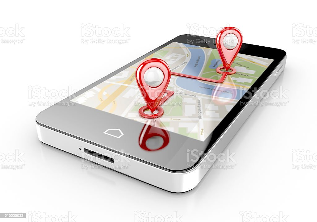 smart phone navigation stock photo