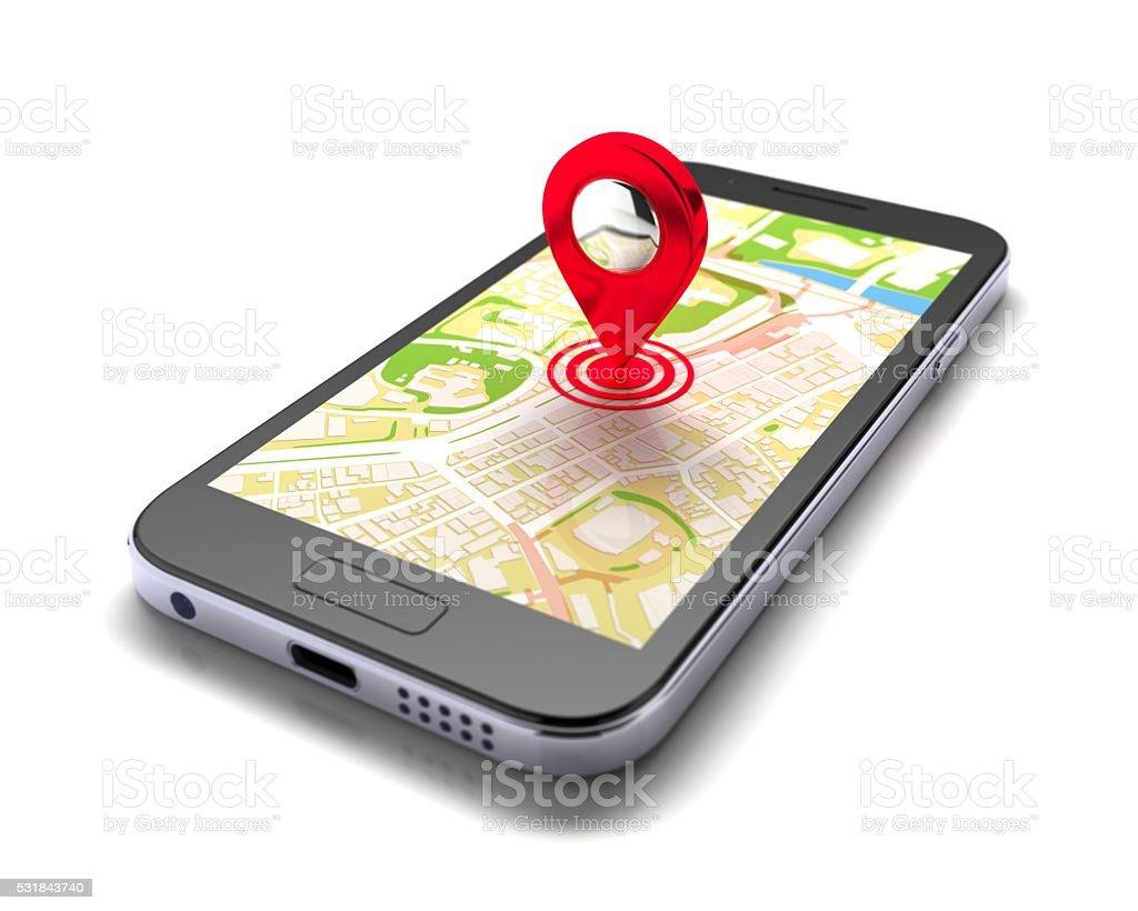 smart phone navigation stock photo