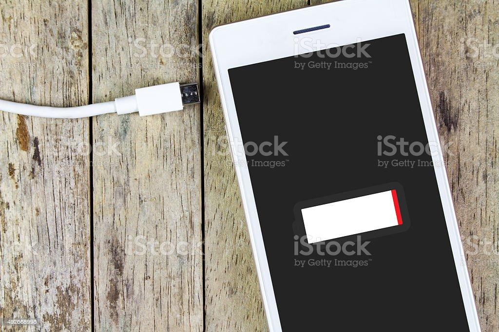 smart phone need to charge battery stock photo