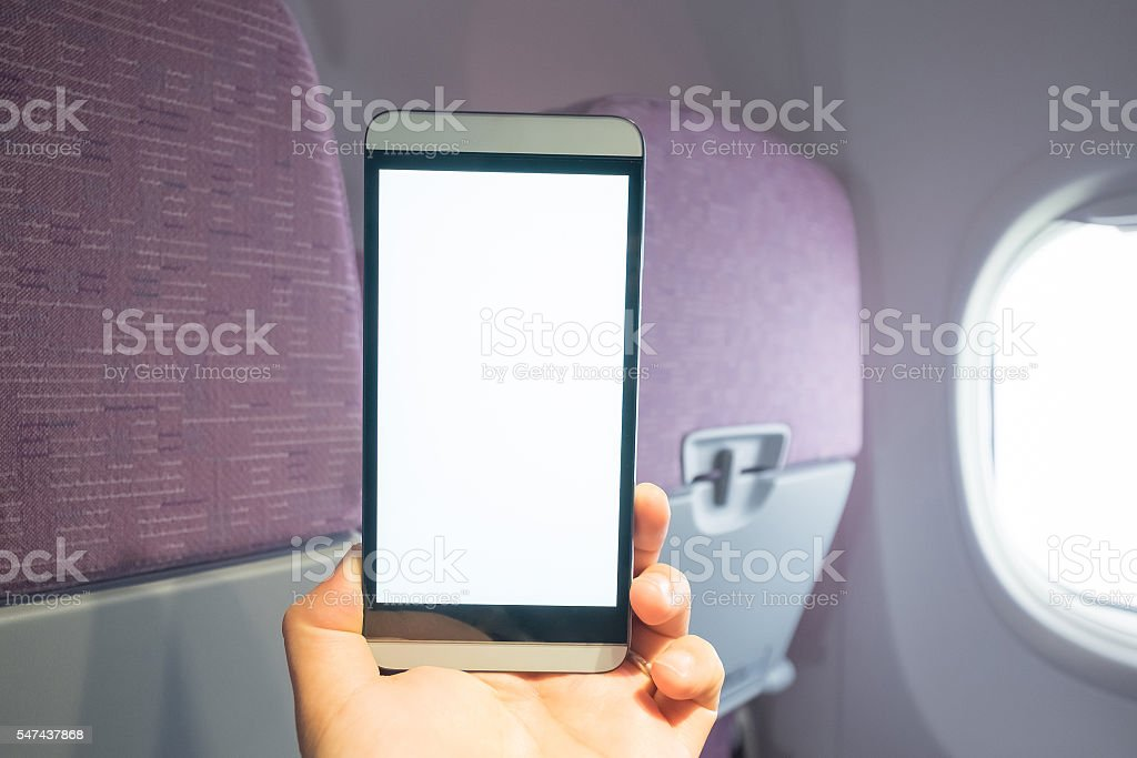 smart phone on air cabin stock photo